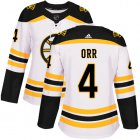 Cheap Adidas Bruins #4 Bobby Orr White Road Authentic Women's Stitched NHL Jersey