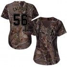 Cheap Angels #56 Kole Calhoun Camo Realtree Collection Cool Base Women's Stitched MLB Jersey
