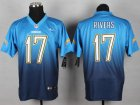 Cheap Nike Chargers #17 Philip Rivers Electric Blue/Navy Blue Men's Stitched NFL Elite Fadeaway Fashion Jersey