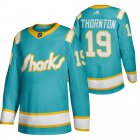 Cheap San Jose Sharks #19 Joe Thornton Men's Adidas 2020 Throwback Authentic Player NHL Jersey Teal