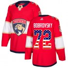 Cheap Adidas Panthers #72 Sergei Bobrovsky Red Home Authentic USA Flag Stitched NHL Jersey