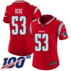 Cheap Nike Patriots #53 Josh Uche Red Women's Stitched NFL Limited Inverted Legend 100th Season Jersey