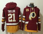 Cheap Men's Washington Redskins #21 Sean Taylor NEW Red Pocket Stitched NFL Pullover Hoodie