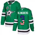 Cheap Adidas Stars #3 John Klingberg Green Home Authentic USA Flag Youth 2020 Stanley Cup Final Stitched NHL Jersey