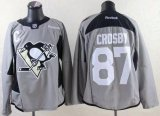 Cheap Penguins #87 Sidney Crosby Grey Practice Stitched NHL Jersey