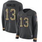 Cheap Nike Broncos #13 KJ Hamler Anthracite Salute to Service Women's Stitched NFL Limited Therma Long Sleeve Jersey
