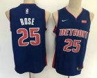 Cheap Men's Detroit Pistons #25 Derrick Rose New Blue 2019 Nike Swingman Stitched NBA Jersey With The Sponsor Logo