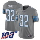 Cheap Nike Lions #32 D'Andre Swift Gray Men's Stitched NFL Limited Rush 100th Season Jersey