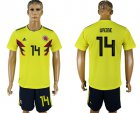 Cheap Colombia #14 Uribe Home Soccer Country Jersey