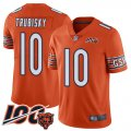 Cheap Nike Bears #10 Mitchell Trubisky Orange Men's Stitched NFL Limited Rush 100th Season Jersey