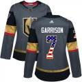 Cheap Adidas Golden Knights #7 Jason Garrison Grey Home Authentic USA Flag Women's Stitched NHL Jersey