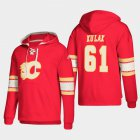 Cheap Calgary Flames #61 Brett Kulak Red adidas Lace-Up Pullover Hoodie