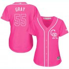 Cheap Rockies #55 Jon Gray Pink Fashion Women's Stitched MLB Jersey