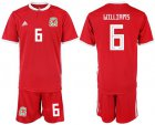 Cheap Wales #6 Williams Home Soccer Country Jersey