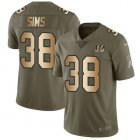 Cheap Nike Bengals #38 LeShaun Sims Olive/Gold Youth Stitched NFL Limited 2017 Salute To Service Jersey