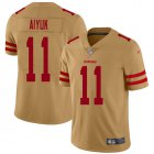 Cheap Nike 49ers #11 Brandon Aiyuk Gold Youth Stitched NFL Limited Inverted Legend Jersey