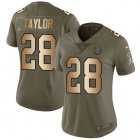 Cheap Nike Colts #28 Jonathan Taylor Olive/Gold Women's Stitched NFL Limited 2017 Salute To Service Jersey