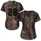 Cheap Rockies #28 Nolan Arenado Camo Realtree Collection Cool Base Women's Stitched MLB Jersey