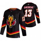 Cheap Calgary Flames #13 Johnny Gaudreau Black Men's Adidas 2020-21 Reverse Retro Alternate NHL Jersey
