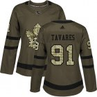 Cheap Adidas Maple Leafs #91 John Tavares Green Salute to Service Women's Stitched NHL Jersey