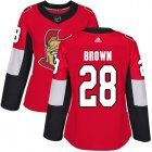 Cheap Adidas Senators #28 Connor Brown Red Home Authentic Women's Stitched NHL Jersey