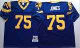Cheap Mitchell And Ness Rams #75 Deacon Jones Blue Throwback Stitched NFL Jersey