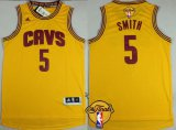 Cheap Men's Cleveland Cavaliers #5 J.R. Smith 2016 The NBA Finals Patch Yellow Jersey