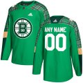 Cheap Men's Adidas Boston Bruins Personalized Green St. Patrick's Day Custom Practice NHL Jersey