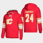 Cheap Calgary Flames #24 Travis Hamonic Red adidas Lace-Up Pullover Hoodie