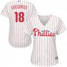 Cheap Phillies #18 Didi Gregorius White(Red Strip) Home Women's Stitched MLB Jersey