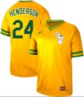 Cheap Nike Athletics #24 Rickey Henderson Yellow Authentic Cooperstown Collection Stitched MLB Jersey