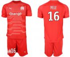Cheap Marseille #16 Pele Red Goalkeeper Soccer Club Jersey