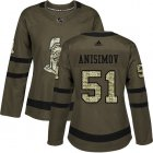 Cheap Adidas Senators #51 Artem Anisimov Green Salute to Service Women's Stitched NHL Jersey