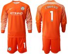 Cheap Manchester City #1 C.Bravo Orange Goalkeeper Long Sleeves Soccer Club Jersey