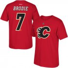 Cheap Calgary Flames #7 TJ Brodie Reebok Name and Number T-Shirt Red
