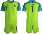 Cheap France #1 LLORIS Shiny Green Goalkeeper Soccer Country Jersey