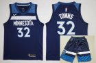 Cheap Men's Minnesota Timberwolves #32 Karl-Anthony Towns New Navy Blue 2017-2018 Nike Swingman Stitched NBA Jersey With Shorts