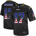 Cheap Nike Chargers #17 Philip Rivers Black Men's Stitched NFL Elite USA Flag Fashion Jersey