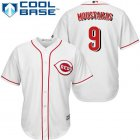 Cheap Reds #9 Mike Moustakas White New Cool Base Stitched MLB Jersey