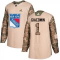 Cheap Adidas Rangers #1 Eddie Giacomin Camo Authentic 2017 Veterans Day Stitched NHL Jersey