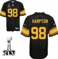 Cheap Steelers #98 Casey Hampton Black With Yellow Number Super Bowl XLV Stitched NFL Jersey