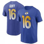 Cheap Los Angeles Rams #16 Jared Goff Nike Team Player Name & Number T-Shirt Royal