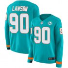Cheap Nike Dolphins #90 Shaq Lawson Aqua Green Team Color Women's Stitched NFL Limited Therma Long Sleeve Jersey