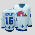 Cheap Nordiques #16 Michel Goulet Stitched CCM Throwback White NHL Jersey