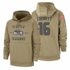 Cheap Seattle Seahawks #16 Tyler Lockett Nike Tan 2019 Salute To Service Name & Number Sideline Therma Pullover Hoodie
