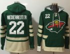 Cheap Wild #22 Nino Niederreiter Green Name & Number Pullover NHL Hoodie