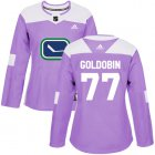 Cheap Adidas Canucks #77 Nikolay Goldobin Purple Authentic Fights Cancer Women's Stitched NHL Jersey