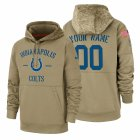 Cheap Indianapolis Colts Custom Nike Tan 2019 Salute To Service Name & Number Sideline Therma Pullover Hoodie