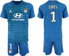 Cheap Lyon #1 Lopes Blue Goalkeeper Soccer Club Jersey