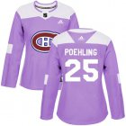 Cheap Adidas Canadiens #25 Ryan Poehling Purple Authentic Fights Cancer Women's Stitched NHL Jersey